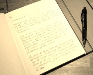 skrivbok penna